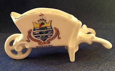 Crested China Gemma. A fine wheelbarrow. Worthing Crest.