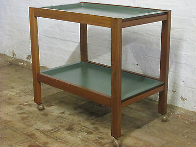Vintage Wooden Two Tier Serving Trolley on Castors with Removable Green Trays