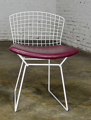 Vintage Mid Century Modern Bertoia White Wire Side Chairs W/Purple Seat  Cushions