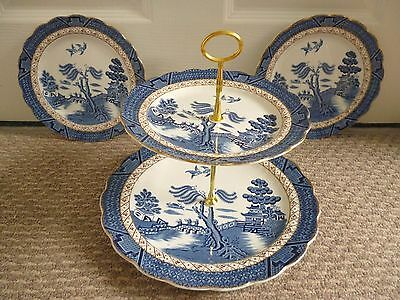 Booths Real Old Willow (A8025) 2 Tier Cake Stand + 2 X Tea Plates