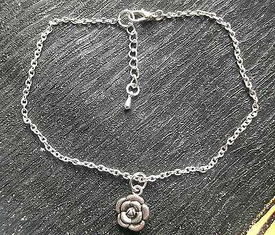 Silver tone flower charm anklet ankle bracelet ankle chain - silver plated