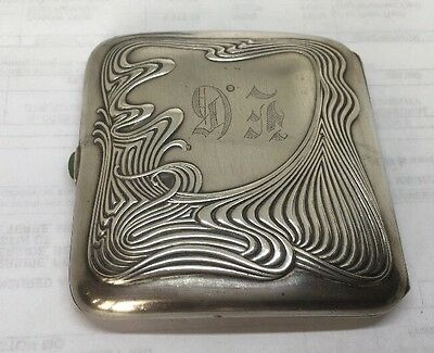 Fabulous Art Nouveau Sterling Silver Cigarette Case With Jade Closure