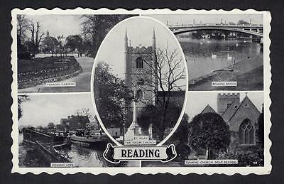 """READING"" Multi View Postcard Berkshire 1958"
