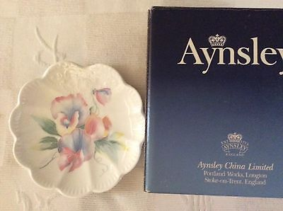 Aynsley Fine Bone China 'Little Sweetheart' Fan Tray. Perfect Condition. Boxed