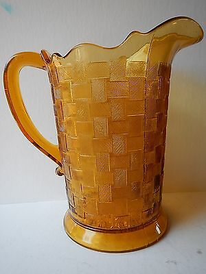 "EAPG Amber  Basket Weave Glass Pitcher 8.5"" Tall Circa 1880's Pattern; mint cond"
