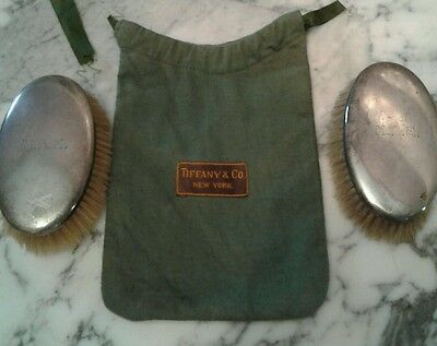 Tiffany & Co. Sterling Silver  Oval Horsehair  Brushes  Monogrammed