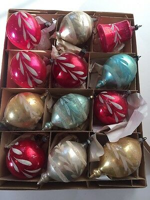 Box LOT Vintage Antique Holiday Christmas Ornaments HAND PAINTED Mercury Glass