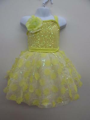 Dance Costume NEW Small Child Yellow Flower Tutu Dress Ballet Tap Solo