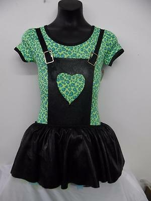 Dance Costume Med Child Green Cheetah Dress Jazz  Solo Competition Pageant Glitz