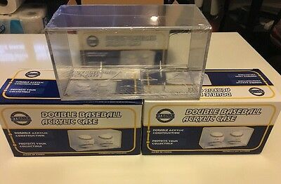 Steiner Acrylic Double MLB Baseball Ball Display Case Cube Lot of 3 - Brand New