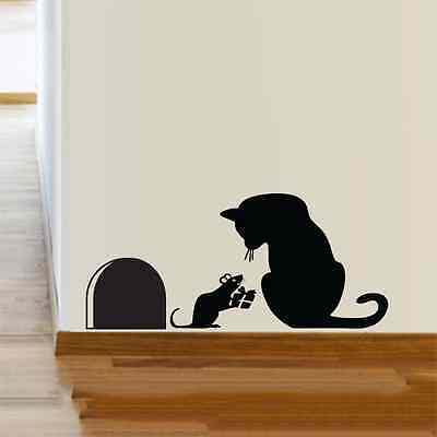 Cat Mouse hole Christmas Party Vinyl Wall Sticker Decor Decal Mural KItchen Pets