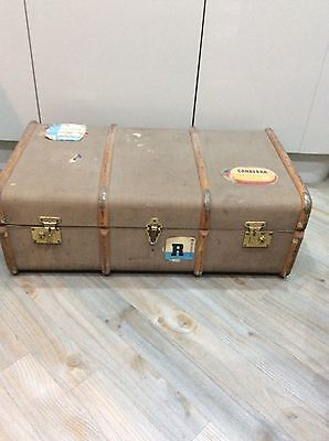 vintage ,old shipping steamer travel luggage ,trunk,chest,coffee table