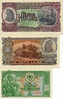 ALBANIA Europe Set of 3 UNC banknotes 100 500 1000 Leke 1957 UNC