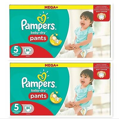 168  Pampers Baby-Dry Nappy Pants Size 5, 2 x 84 Mega+ Pack