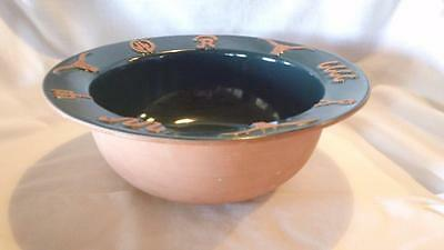 """FRANKOMA RANCH 10"""" ROUND VEGETABLE BOWL IN FOREST GREEN w/WESTERN CATTLE BRANDS"""