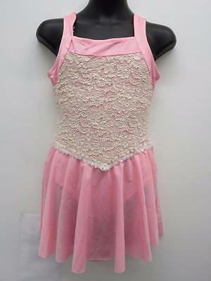 Dance Costume XL Child Pink Ivory Lace Dress Lyrical Solo Competition Pageant