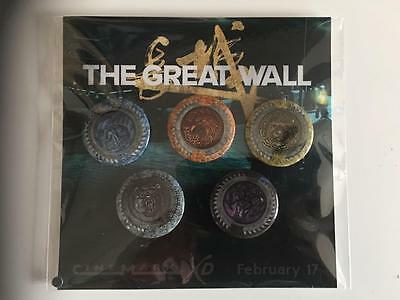 THE GREAT WALL - Set of 5 Original Promotional Pins/Buttons Cinemark NEW Rare