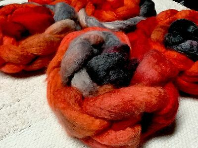 Hand Dyed BFL Roving/ Top For Spinning Felting Crafts. X 100 Grams