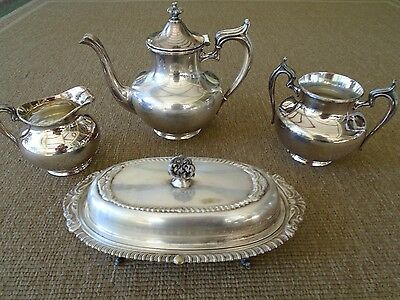 Antique Silver Plate coffee tea set with footed butter dish
