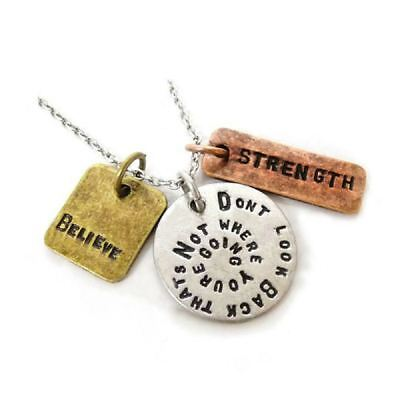 Antique Silver Plt 'Dont Look Back Thats Not Where Youre Going' Necklace A