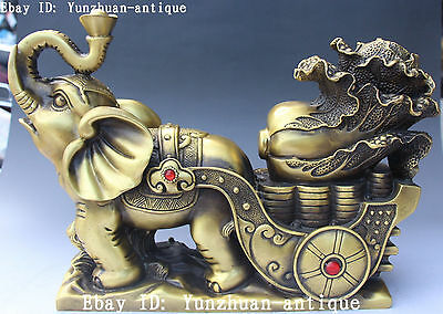 Chinese Pure Bronze Auspicious Wealth Money Cabbage Elephant Animal Statue