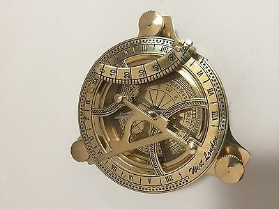 "BRASS 4"" SUNDIAL COMPASS NAUTICAL GIFT  USA Seller!!!"