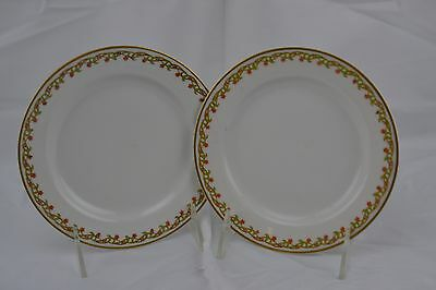 Haviland Limoges Two Handled Thick Gold Red Flowers Set of 2 Bread Butter Plates