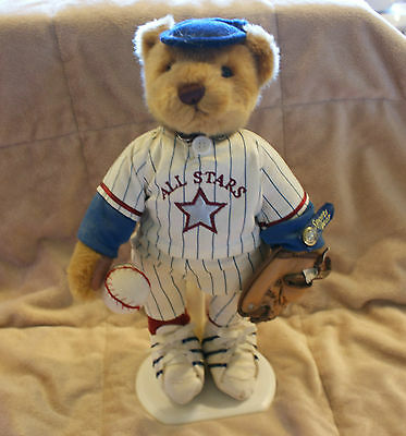 Brass Button Baseball Bear- Complete with Stand