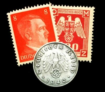 Authentic Rare German WW2 Coin and Stamps - Historical Artifacts