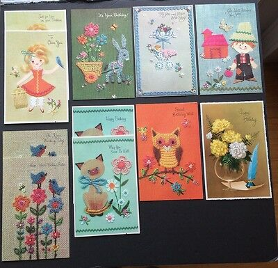 11 Vintage Greeting Cards Embossed Applique Cute Animals Birthday Get Well Baby
