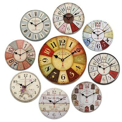 [NEW] 1PCS Only Round Vintage Rustic Wooden Wall Clock Quartz Movement