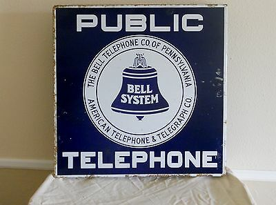 Bell Telephone Co of Pennsylvania American Telephone Telegraph Co Porcelain Sign