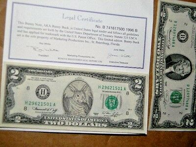 Easter bunny REAL 2 dollar bill, + 1 regular 2 dollar bill, cute Easter envelope