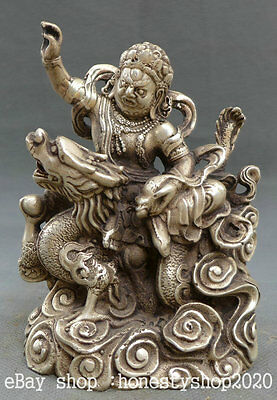 "5"" Tibet Buddhism Miao Silver Yellow Jambhala Wealth God Ride Dragon Statue"