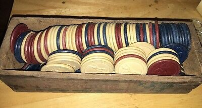 Vintage Lot 180 Clay Poker Chips Race Horse Jockey Red White Blue Antique Racing