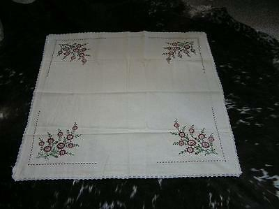 """Vintage Linen Hand Embroidered Tablecloth Beautiful Flowers Floral 37"""" x 36"""""""