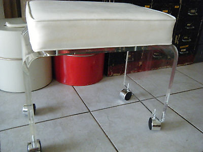 Vintage Mid Century Modern Thick Lucite Vanity Stool On Wheels & Cushion