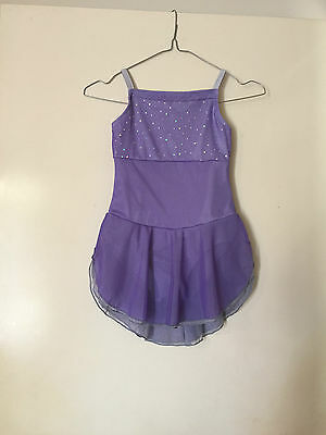 Ice Skating Costume - Lilac Cosmic Stretch Mesh & Lycra Leotard - Child 6/7 New