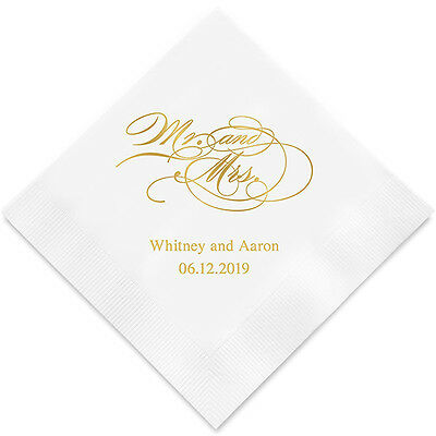 Personalized Printed Script Mr. & Mrs. Wedding Reception Napkins Q17066