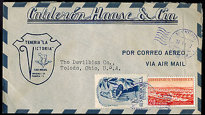 El Salvador 1957 Multi Franked Airmail Advertising Cover*san Miguel To Toledo,oh