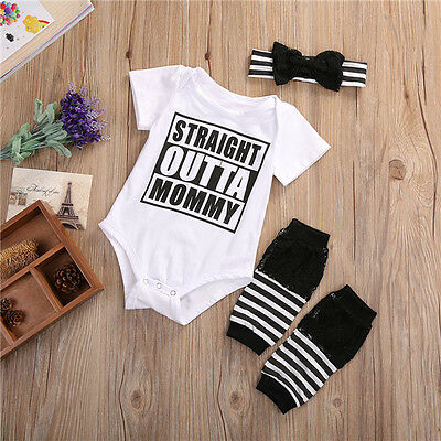 USA 3PCS Newborn Infant Baby Girls Clothes Romper+Pants Leggings Outfit Sets