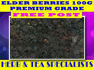 ELDER BERRIES 100% OGANIC 100g ☆ ELDERBERRIES☆Sambuccus nigra☆  FREE POST