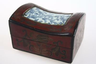 CHINESE VINTAGE LACQUER HANDPAINTED JEWELERY BOX w/ 19th c CERAMIC TILE