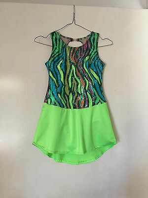 Ice Skating Costume- Wildcat Lime Green Lycra Child 9/10 New -Can be in any Size