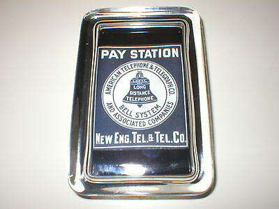 BELL NEW ENGLAND PAY STATION Telephone Advertising Sign Logo GLASS PAPERWEIGHT
