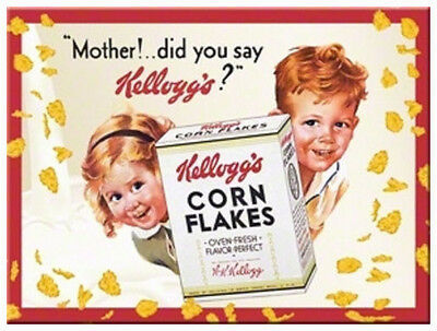 Retro Metal Magnet KELLOGG'S CORN FLAKES Cereal 'Mother did you say' Licensed