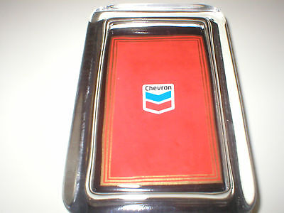 CHEVRON Oil Standard Gas Station Advertising Red Sign Logo Glass PAPERWEIGHT