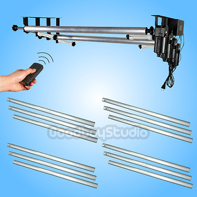 US Studio 4 Roller Motorized Wall Mount Background Support + 4X 3M 10ft Crossbar