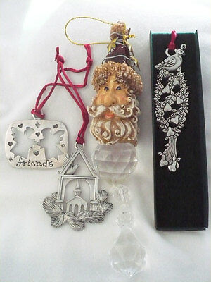 Lot 3 Seagull pewter Xmas ornaments  angle friends, church & partridge in tree +