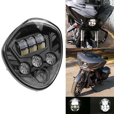 Cree Bezel LED Motorcycle Headlight Hi/Lo Beam Black For Victory Cross Country